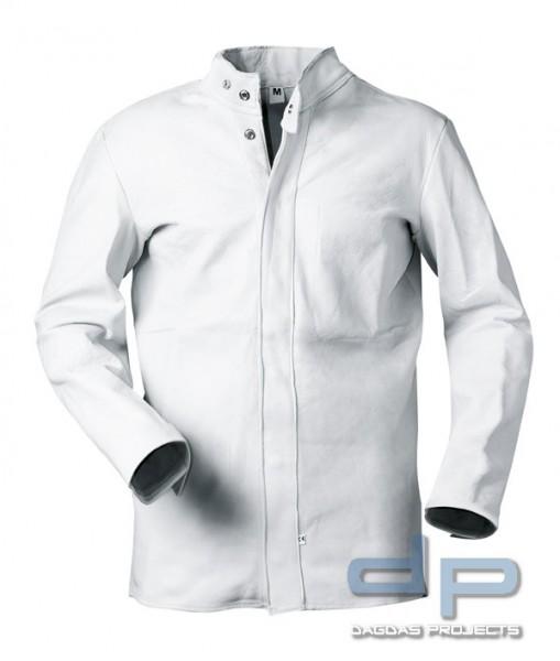 Vollleder Jacke in Weiß