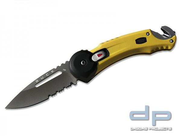 Buck Einhandmesser, Redpoint Rescue, Stahl 420HC, SUR-Lock, Teilsägezahnung, gummierte Griffschalen,