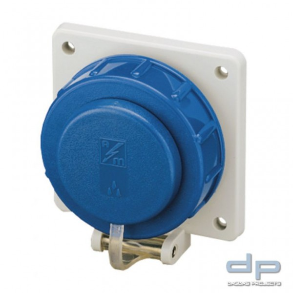 Mennekes Schuko Anbausteckdose, IP68, blau/grau, viereckiger Flansch
