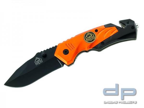 Puma TEC Rettungsmesser, AISI 420 Stahl, beschichtet, Gurtschneider, Glasbrecher, Aluminium-Griffsch