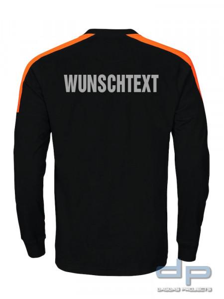 Behörden Langarm T-Shirt mit abgesetzten Schulterun und Wunschaufdruck in reflex silber