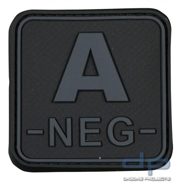 3D Blutgruppenpatch 50x50 Grau/Schwarz A neg -