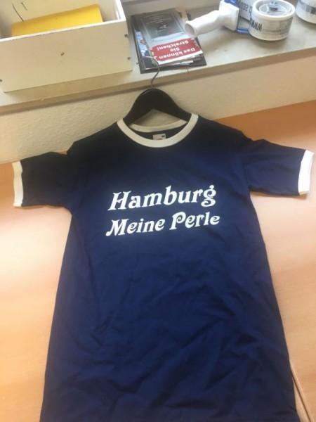 Blau weisses T-Shirt mit Aufdruck Hamburg meine Perle Gr. S