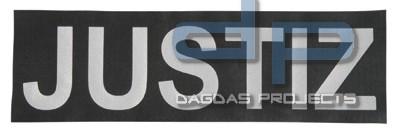 Reflektierender Schriftzug Klein /Klett Justiz Maße 13x3,5 cm